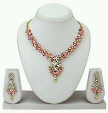 South Indian Ethnic Gold Plated Diamond & kundan Necklace Earring Jewellery Set