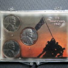 "*1943  LINCOLN WARTIME ""STEEL"" CENTS, 3-COIN P/D/S  Mint Set in Display Case #B"