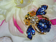 "Gorgeous JOAN RIVERS BLUE ""COSMO"" BEE Brooch with BRILLIANT Crystals NIB"