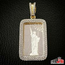 Gold Finish .925 Silver Pendant Statue Liberty .999 Bar Iced Out Bezel Hip Hop