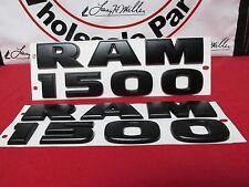 """Dodge Ram MATTE FLAT BLACK """"RAM 1500"""" Emblem Nameplate Badge SET 2 NEW OEM MOPAR"""