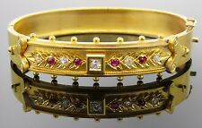 Antique Yellow Gold Ruby and Diamond Bangle Bracelet with Antique Box