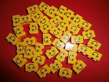 LEGO 40 amarillos Bloques 1 x 2 Botones con motivo: Rostro PRODUCTO NUEVO