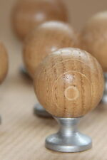 10x Small Wooden OAK Draw Knobs 26mm Ball Round. + Metal Stand + SCREWS!