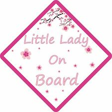 PERSONALISED LITTLE LADY FLOWERS ON BOARD , Car Sign.Baby Child Children Safety