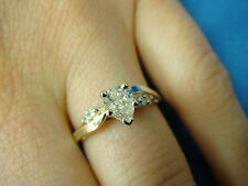 14K YELLOW GOLD, 0.60CT T.W. PEAR SHAPED & ROUND DIAMONDS ENGAGEMENT RING