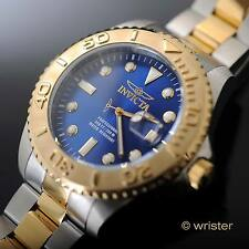 Men's Invicta Pro Diver 18k Gold IP Two Tone SS Swiss Parts Blue Dial 47mm Watch