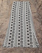 Tribal Womens  Boho Gypsy  Long Maxi  Skirt White and Blue Sz Large