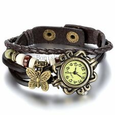 Women Vintage New Leather Bracelet Butterfly Decoration Quartz Wrist Watch