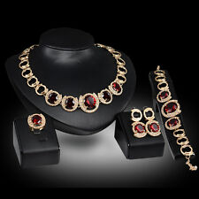 noble red zircon Creative Gold Plated Necklace Earring Bracelet Ring Jewelry Set