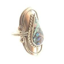 ABALONE SHELL ALPACA SILVER RING ADJUSTABLE. TEARDROP OVAL SHELL FILIGREE STYLE