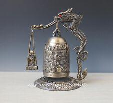 Chinese Bronze Brass Buddhism Dragon Ball Temple Bell Shelf Sculpture