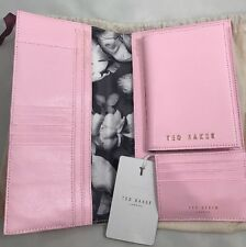 Ted Baker Xhatch Travel Passport Set Pale Pink With Dust Bag