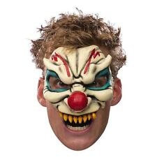Evil Clown Mask Chinless Half Latex Adult Facemask Scary Head Red Nose Mens NEW