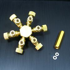 6 way Brass CO2 splitter - Regulator Solenoid Diffuser