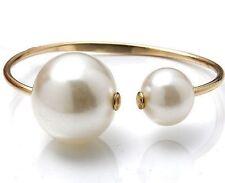 Damen Perlen Armband vergoldet 17-19 cm Kunstperlen Weiß Gold Perle Armreifen