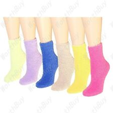 Non Skid Lot 6 Pairs Womens Soft Cozy Fuzzy Winter Solid Slipper Socks Size 9-11