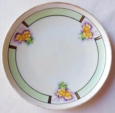 Vintage Meito China Japan Art Deco Plate Green Band Yellow Flowers Purple