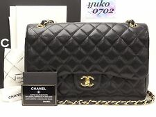 w4898 Auth CHANEL Black Caviar Skin JUMBO Double Flap Shoulder Bag Gold HW