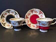 Set of 2 Royal Albert Dorchester Series Ruby Red & Black Cup Saucer Bone China