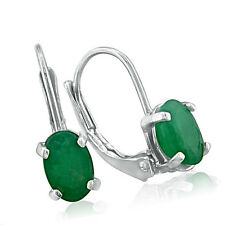 14K WHITE GOLD 1.25CT LEVERBACK OVAL GENUINE EMERALD EARRINGS
