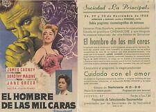 Año 1958. Programa PUBLICITARIO de CINE: El hombre de las mil caras.