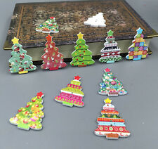 20pcs Christmas Tree Shape Wooden Sewing Buttons Scrapbooking Decorative 35mm