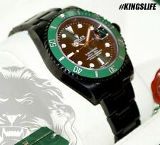 Black ROLEX Submariner GREEN Annivesary KingsLife Edition 116610LV in DLC / PVD