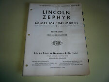 1941 Lincoln Zephyr DuPont Duco Color Chip Paint Sample - Vintage
