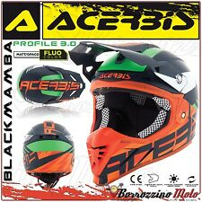 CASQUE ACERBIS PROFILE 3.0 BLACKMAMBA MOTOCROSS ENDURO BLEU/ORANGE MATE TAILLE S