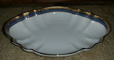 ANTIQUE LIMOGES FRANCE REHAUSSE MAIN BOWL SCALLOPED EDGE PICCOLE IDEE BLUE GOLD