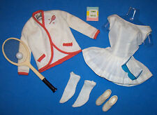 Vintage Barbie Tennis Anyone? Outfit #941 Complete Blue Goggles Book Racquet '62