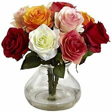Nearly Natural 1367-AS Rose Arrangement with Vase- Assorted