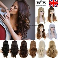 UK Long Straight Curly Wavy Ombre Full Head Wigs 15 Choice Heat Resistant Brown