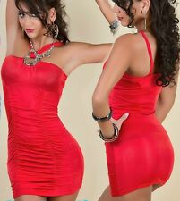 SeXy Gogo Mini Kleid Party Dress gerafft Ringe 34/36/38 Freesize TOP rot NEU