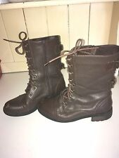 Firetrap brown leather flat boots in size 6 (39)