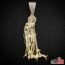 Mens Yellow Gold Finish .925 Silver Simulated Dimaond Pendant Charm Shepard Dogs