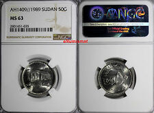 EGYPT AH1409//1989 50 Ghirsh Central bank NGC MS63 TOP GRADED BY NGC KM# 109