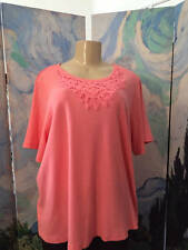 DENIM & CO. PLUS 1X PEACH ROUND TEXTURED NECK BABY RIBBED SHORT SLEEVE TUNIC TOP