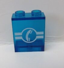 LEGO Trans-Dark Blue Panel 1 x 2 x 2 with Telephone and White Lines Pattern