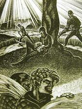 Lynd Ward 1930 INTELLECTUAL MAN READING v FARMERS WORKING Art Deco Print Matted