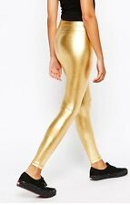 New~American Apparel High Waist Metallic Lame Gold Shiny Leggings RASC306 S