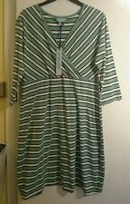House of fraser dickins and jones summer dress size 16 green white black striped