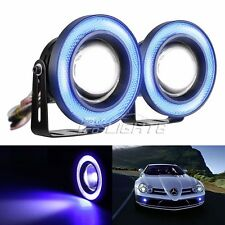 "2pcs 2.5"" Angel Eye Blue COB Halo Ring LED Projector Car SUV Fog Daytime Light"
