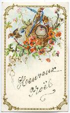 CPA ILLUSTREE OISEAUX au nid avec fleurs, paillettes - JOYEUX NOEL