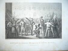 ADOPTION DU DRAPEAU TRICOLORE A L'HOTEL DE VILLE 27 FEV. 1848  GRAVURE XIX ème
