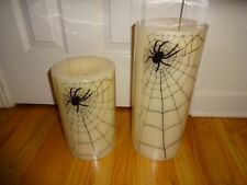 Pottery Barn SPIDERWEB FLAMELESS CANDLES-SET OF TWO-BRAND NEW -HARD TO FIND