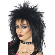 W286 Black Rock Diva Wig Ladies 80s Tina Turner 1980s Punk Disco Diva