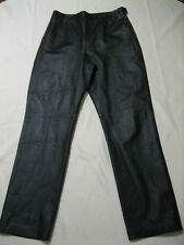 clio black 100% leather pants side zipper lined Size 10 (31 inseam 30.5)