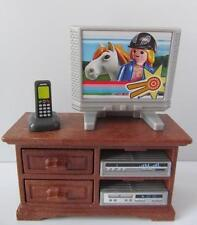 "Playmobil ""wooden"" cupboard with TV & stereo NEW dollshouse lounge furniture"